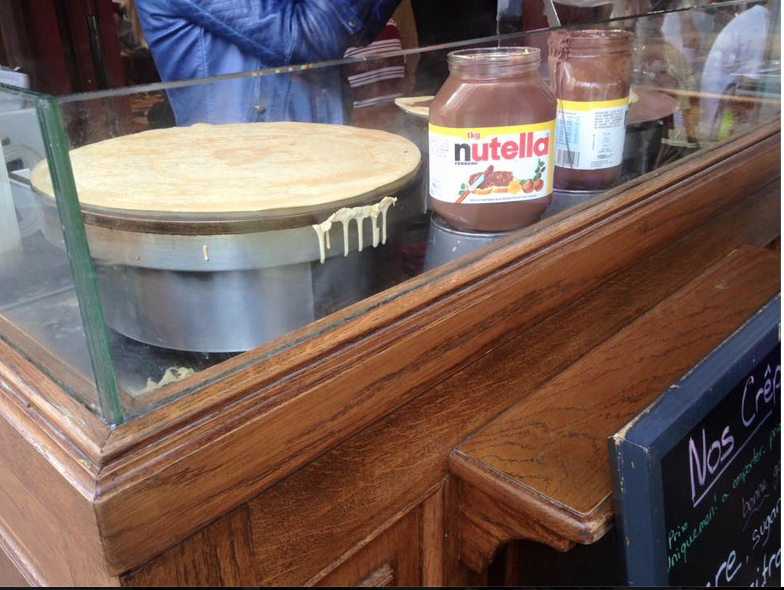 Delicious Nutella crepe-making by the Notre Dame